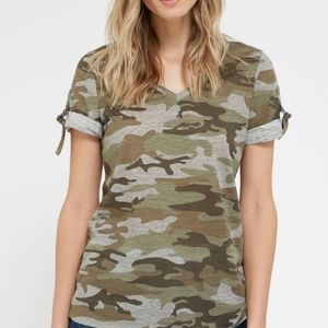 Dex camo short sleeve shirt with D-ring tabs.